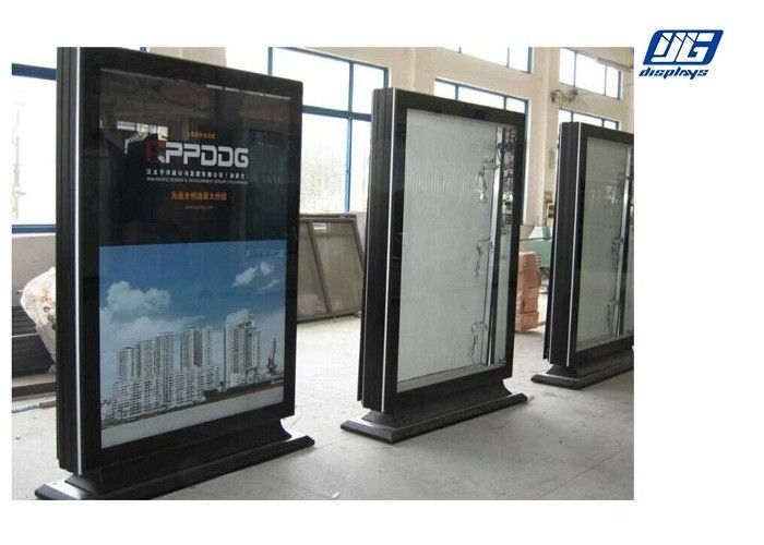 Led Illumination Floor Standing Sign Holders Rectangle Shape High Lighting Outdoor
