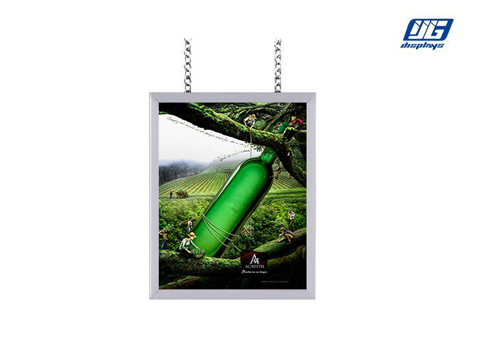 Ultra Slim Chain Hanging LED Snap Frame Light Box Rectange Shape Environmental Friendly