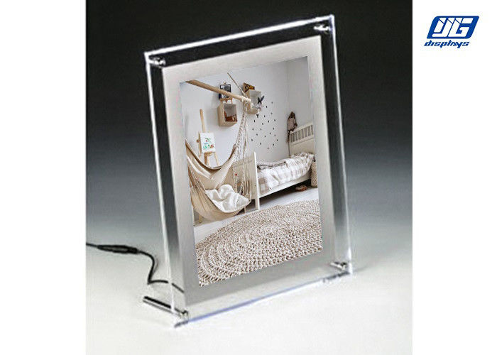 Desk Top Crystal Frame Back Lit LED Graphic Holder for Small Poster 297 x 210mm