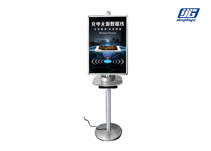 Wireless Charging Two Side Poster Display Stand Silver A2 Frame Clip Open Type