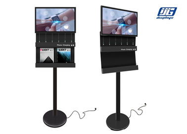 Free Standing Public Cell Phone Charger With LCD Commercial Advertising Digital Display