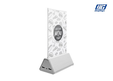 A5 Menu Size Desktop Cellphone Charging Bank Silver Aluminum Base For Advertising